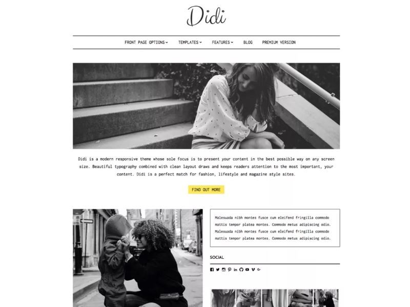 Didi Lite. Шаблон для милых сайтов на Wordpress.