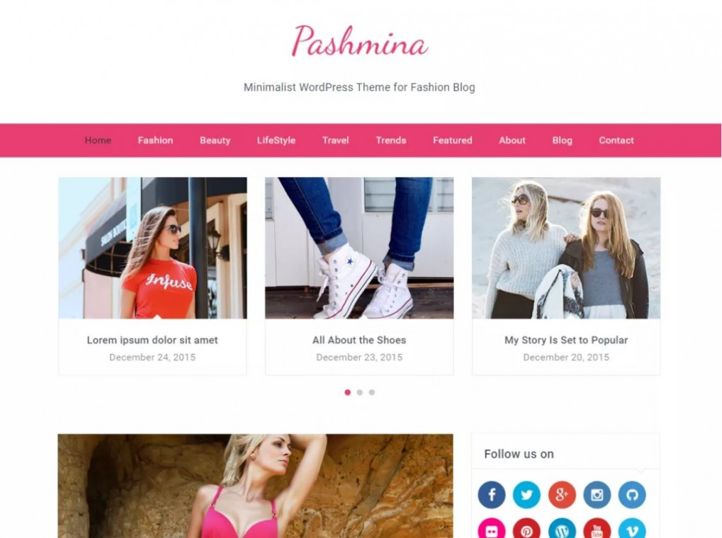 Pashmina. Шаблон для интернет-магазина на Wordpress.
