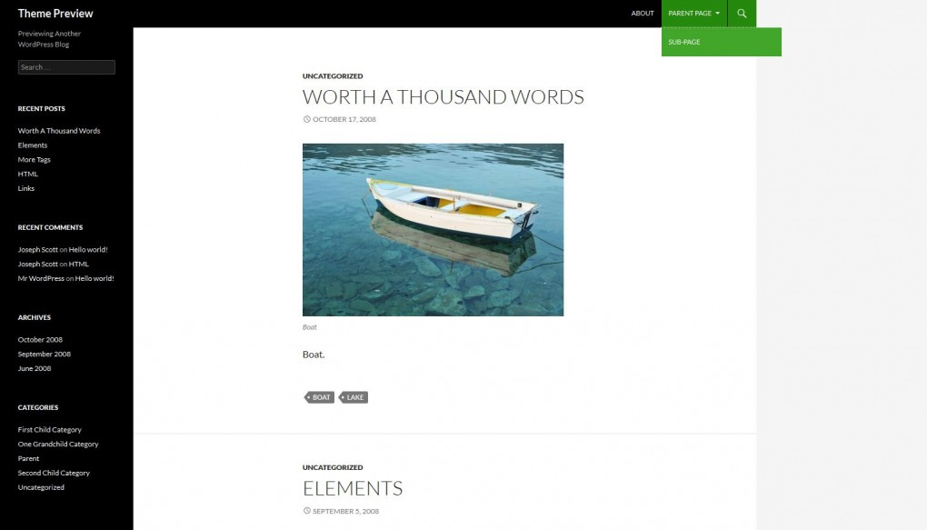 Twenty Fourteen. Шаблон для блога фотографа для Wordpress.
