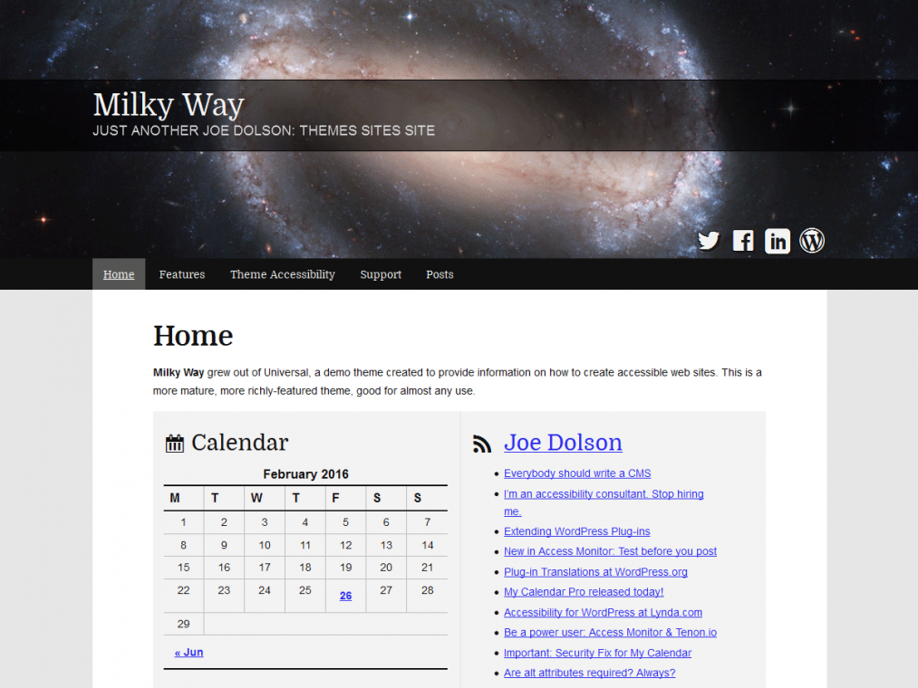 Milky Way. Шаблон для отличных сайтов об астрологии на WordPress.