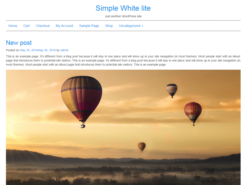 Simple White lite. Минималистичный блоговый шаблон для WordPress.