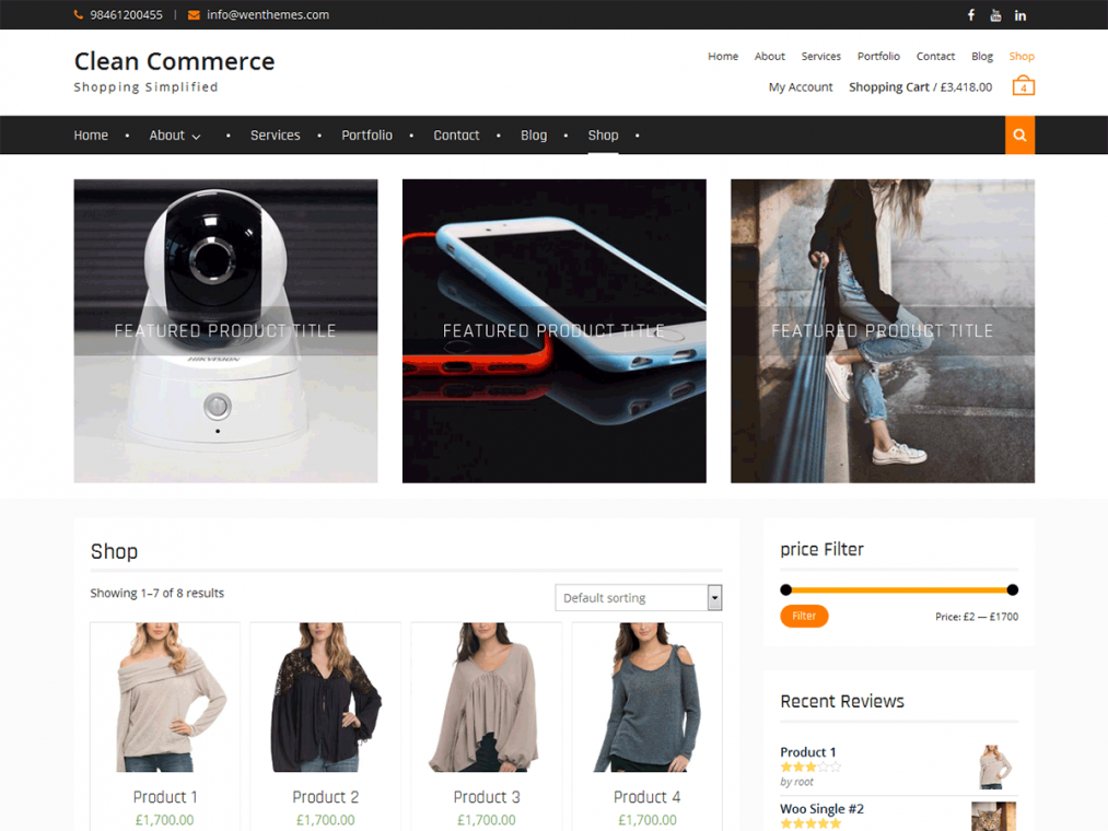 Clean Commerce. Шаблон для деловых ярких сайтов на WordPress.
