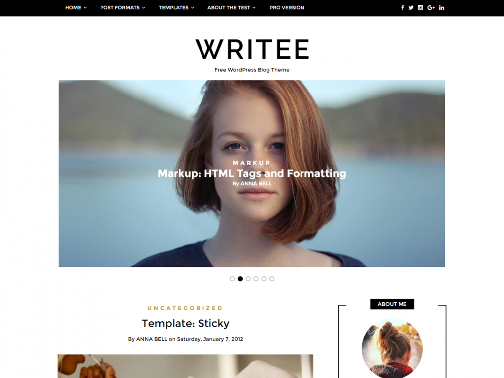 Writee. Чисто блоговая тема для сайтов на WordPress.